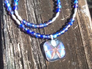 Dazzling Blue Butterfly Pendant And Bracelet Set From AliciasFindings