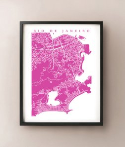 Rio De Janeiro Map Print -Radiant Orchid - From CartoCreative