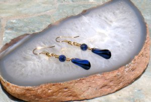 Dazzling Blue Wire Wrapped Dangle Earrings From DesertDabbler