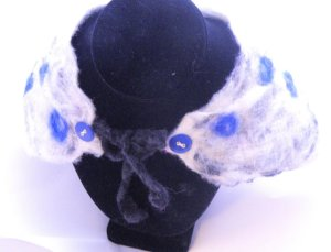 Dazzling Blue Peter Pan Collar Scarflette From ElizabethLovesGlass
