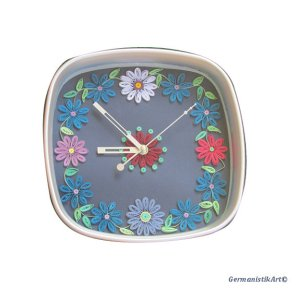 Dazzling Blue Quilled Flower Clock From GermanistikArt