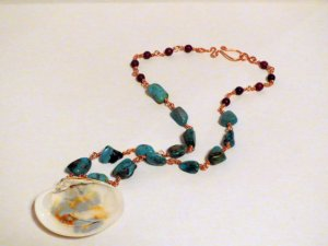Dazzling Blue Copper Wire Wrapped Necklace From InsomniacTreasures