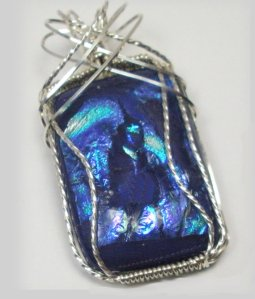 Dazzling Blue Dichroic Glass Wire Wrapped Pendant From LadySnooks