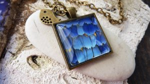Dazzling Blue butterfly Wing Pendant Necklace From LiliaLy