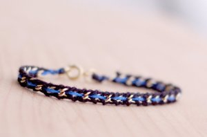 Thin Blue Line Woven Gold Bracelet From nutmegan