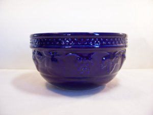 Dazzling Blue Vintage Ceramic Pottery Mixing Bowl From umeone