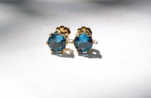 Dazzling Blue 14K Stud Earrings From Windychimes