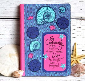 Blue And Pink Seashells Journal From CarolaBartz