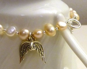 Pink Freshwater Pearl Angel Wing Bracelet From KestrelCollection