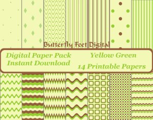 Digital Paper Pack in Yellow Green and Brown, Instant Download, 14 Printable Papers, 12 by 12 inch, 300 dpi jpg $2.50 USD