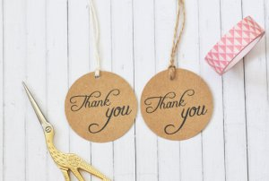 Thank You Circle Gift Tag, Wedding Favor Tag, Round Kraft Gift Tag, 2 inch gift tag, Pack of 10, 20, 50, 100 or custom sized pack available $4.58+ USD
